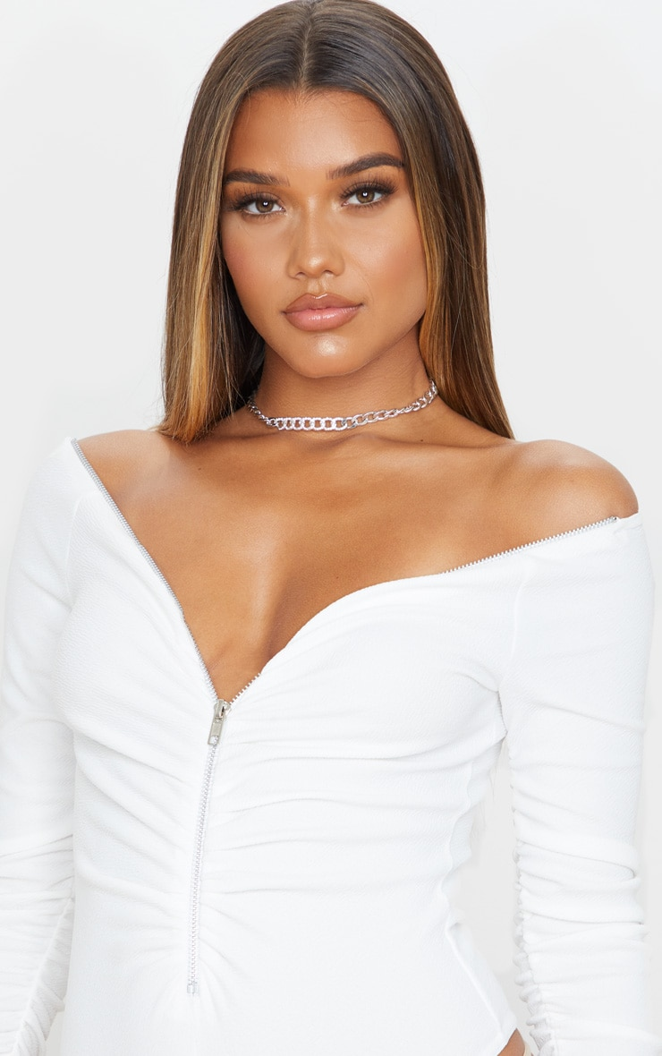 White Bardot Zip Ruched Sleeve Bodysuit 6