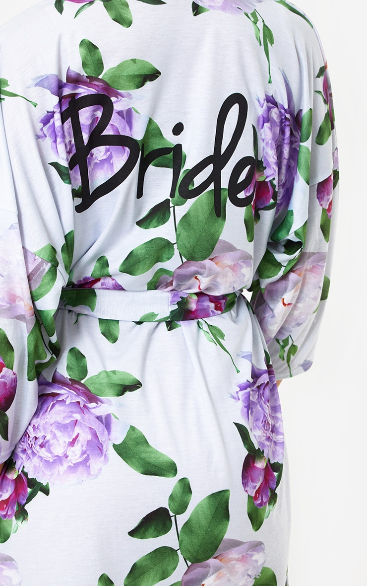 Bride Grey Floral Dressing Gown 6