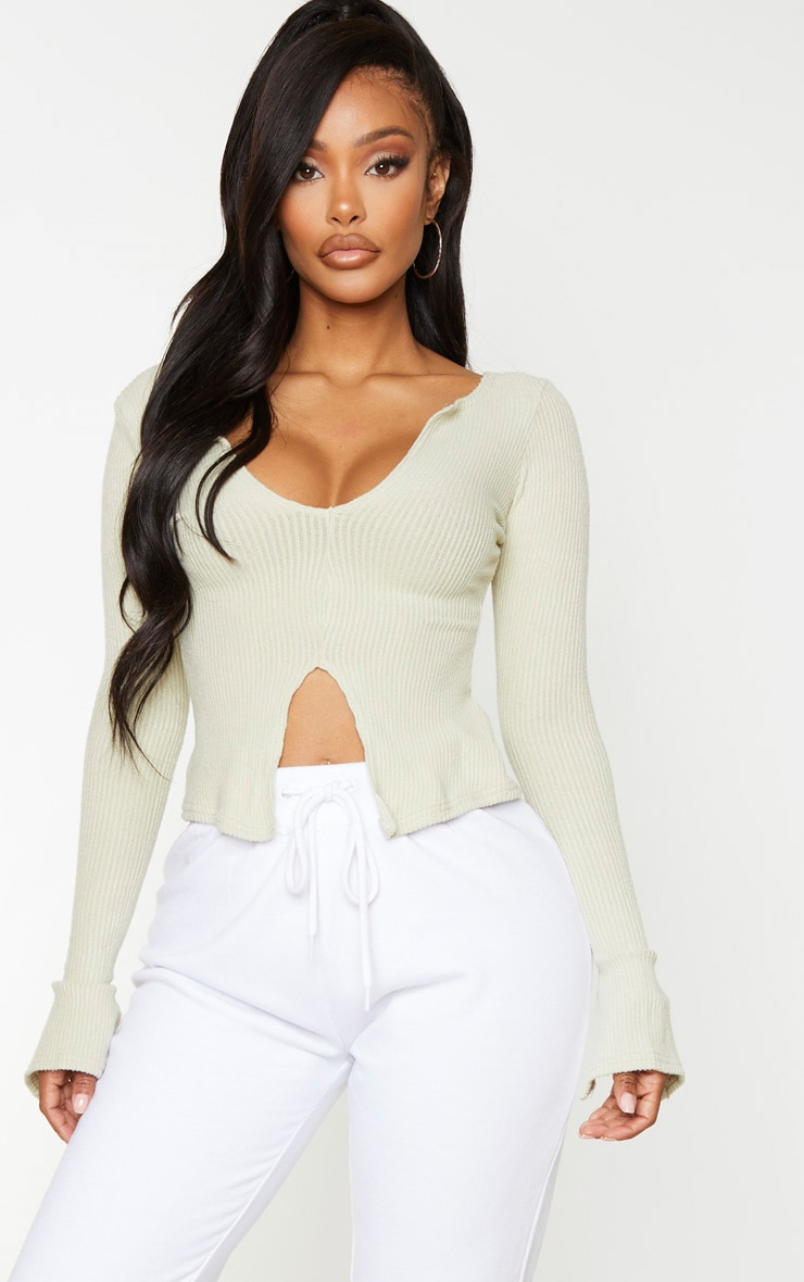 Shape Bright Green Brushed Rib Long Sleeve Top 1