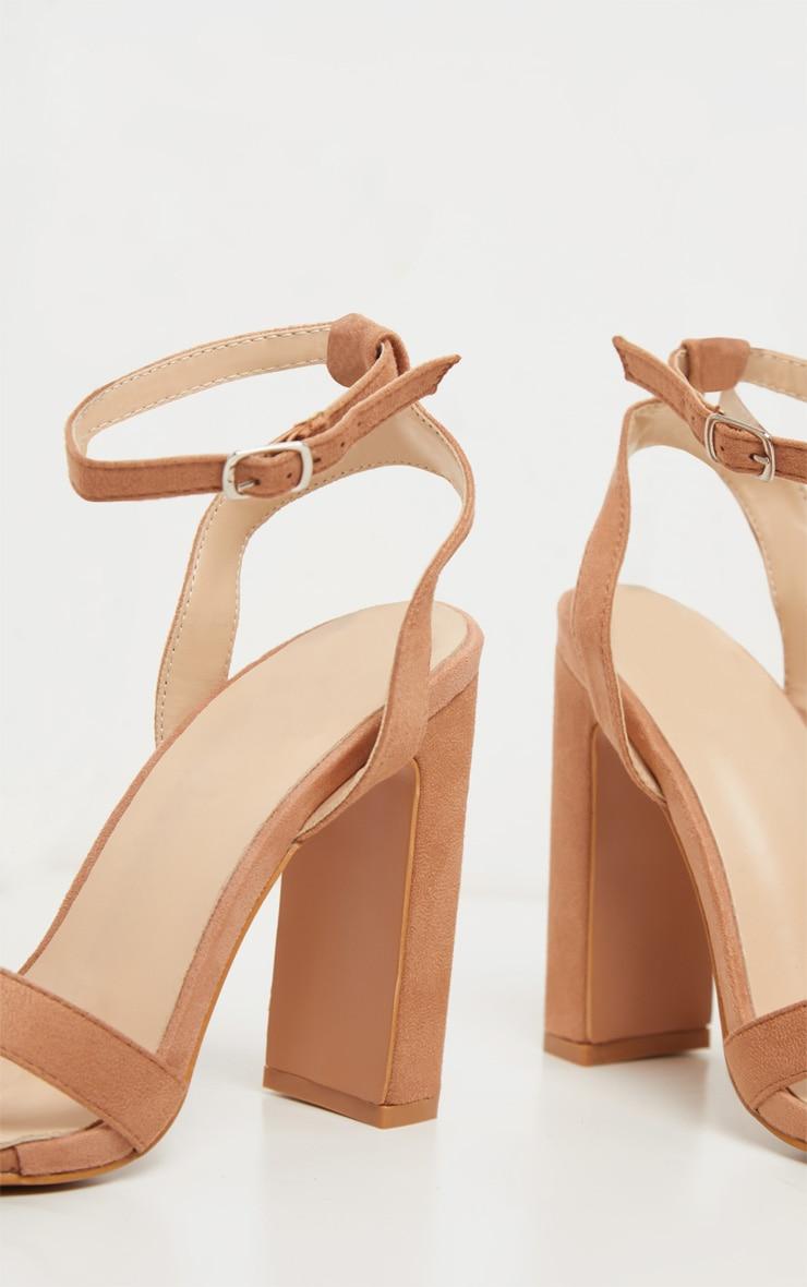 Nude Cross Strap Block Heel Sandal 4