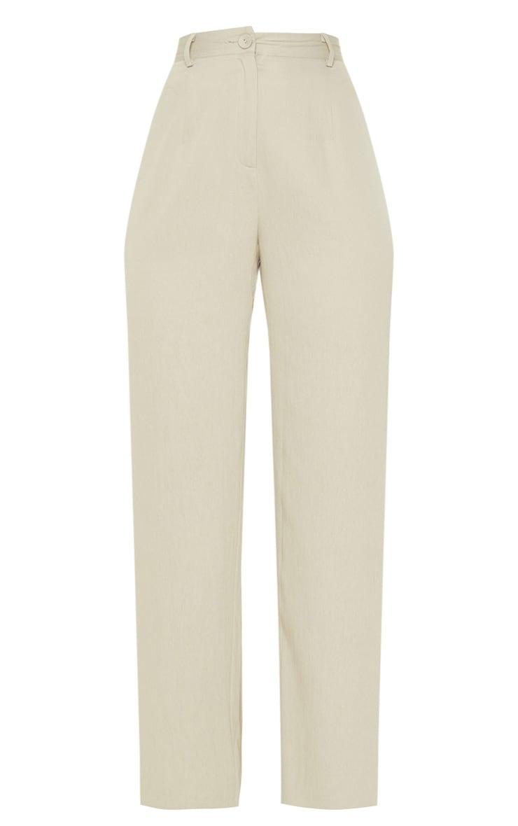 Sage Linen Mix Button Front Straight Leg Trouser 3