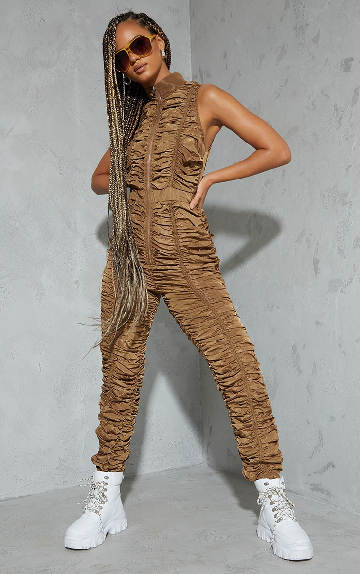 Brown Ruched Shell Sleeveless Zip Jumpsuit 1