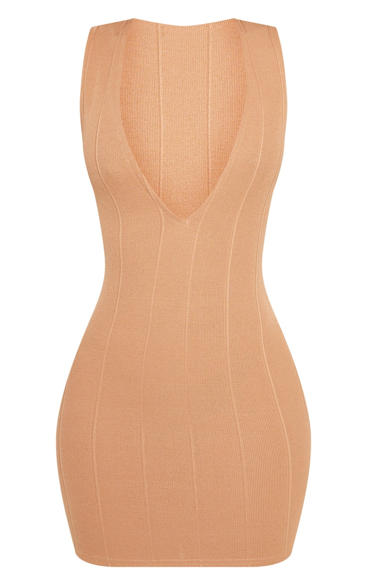 Shape Camel Bandage Plunge Bodycon Dress 3
