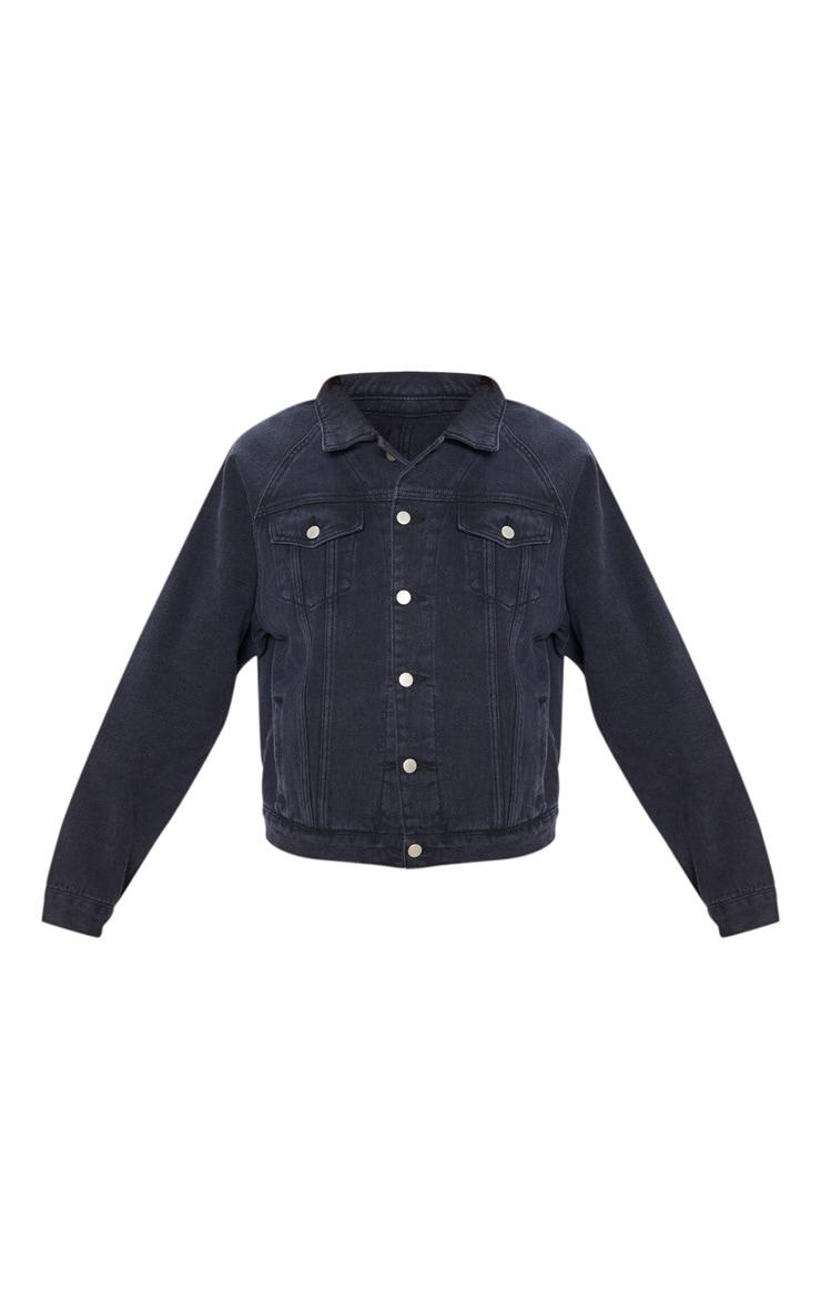 Washed Black Drop Shoulder Oversized Denim Jacket 3