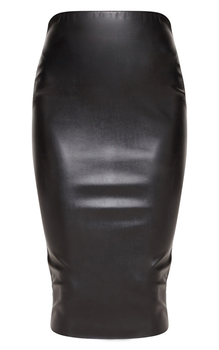 Basic Black Faux Leather Midi Skirt 3