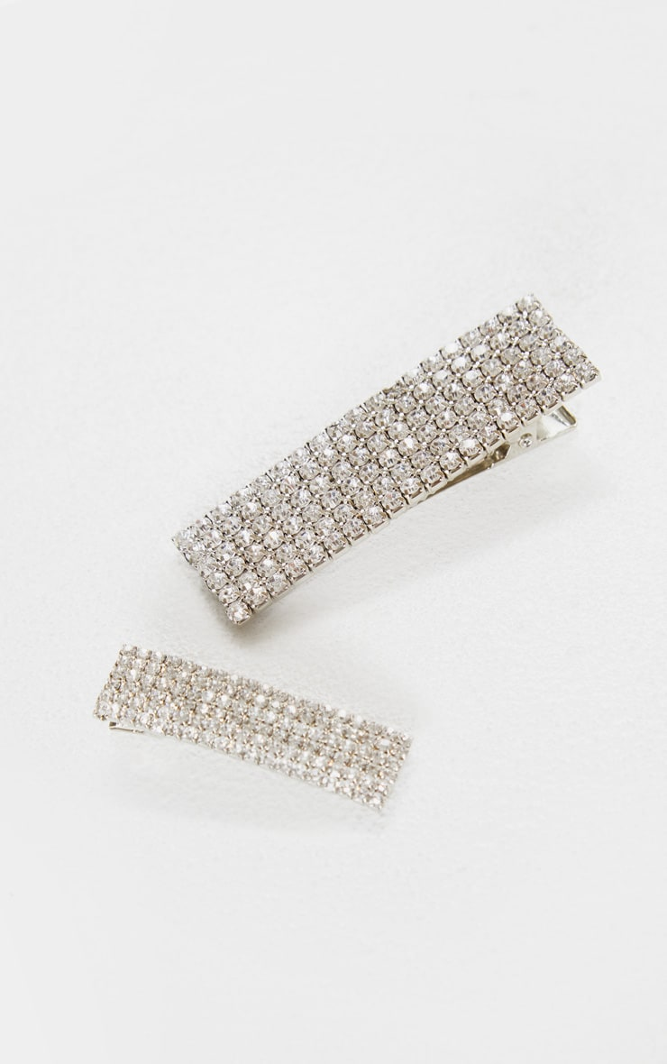 Silver Diamante Rectangle Two Pack Hair Clips 3