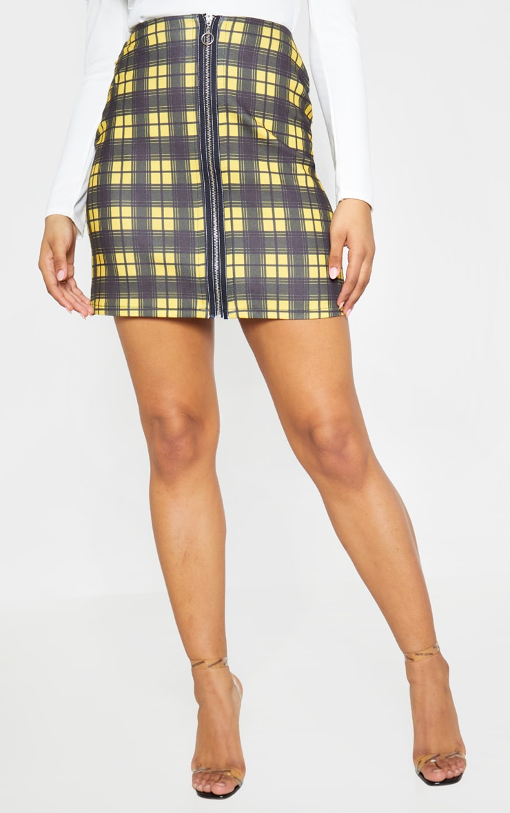 Tall Mustard A Line Checked Zip Front Skirt 2