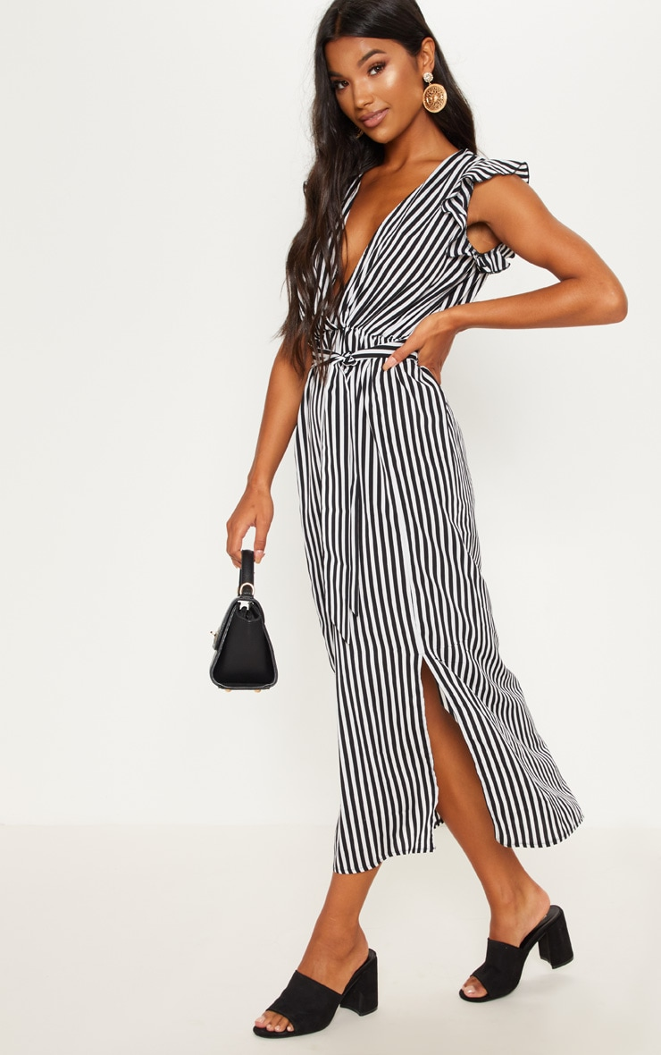 Monochrome Stripe Satin Frill Shoulder Split Midi Dress