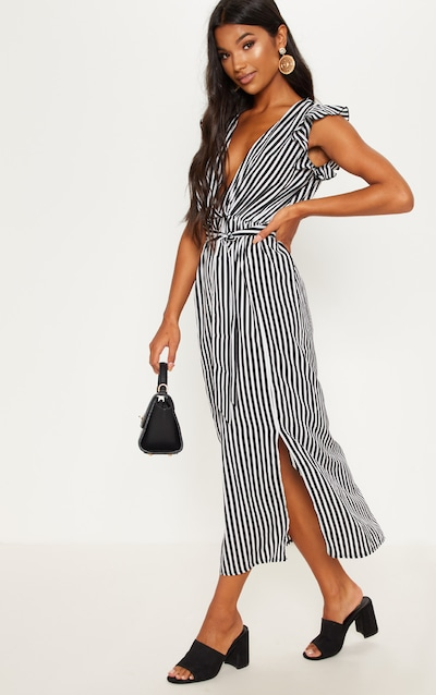 c9068c8ed1851 Monochrome Stripe Satin Frill Shoulder Split Midi Dress