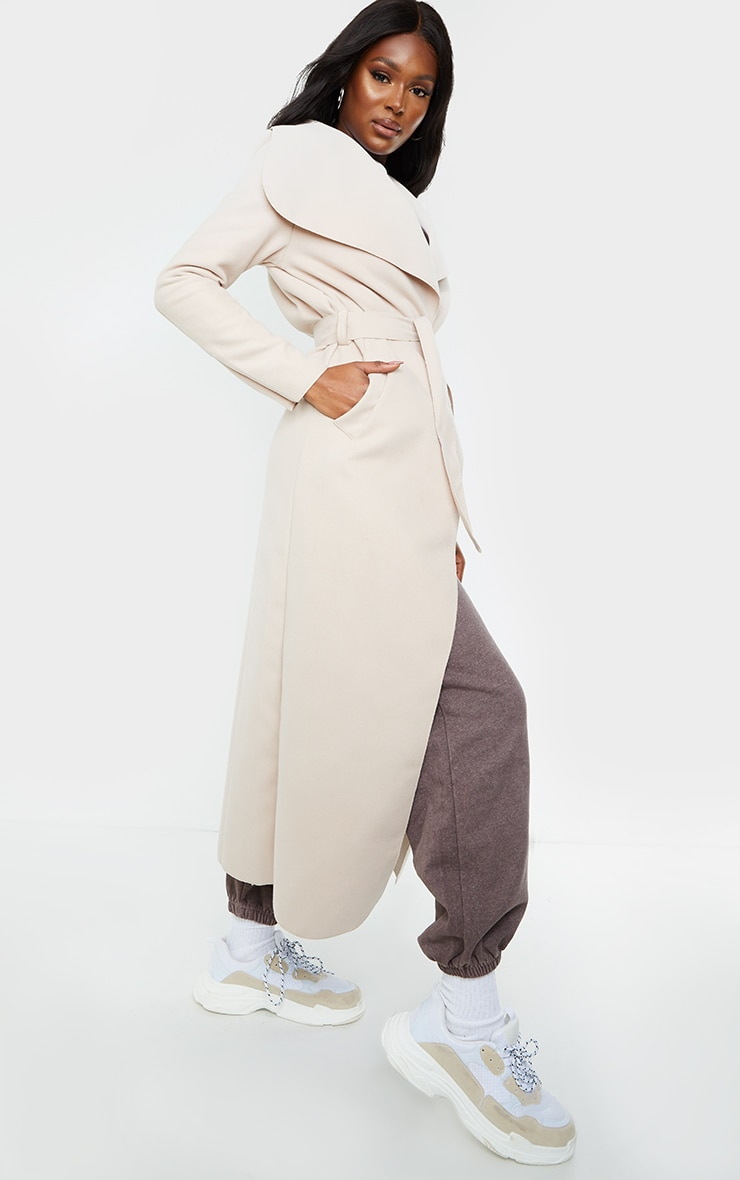 Tall Stone Maxi Length Oversized Waterfall Belted Coat 1