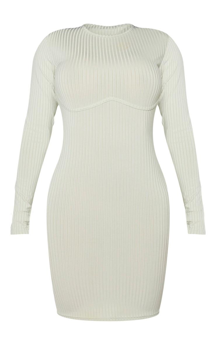 Shape Sage Khaki Rib Underbust Detail Bodycon Dress 5