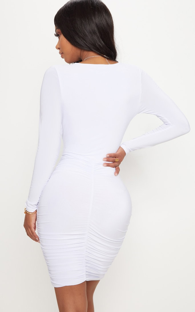 Shape White Ruched Slinky Mini Dress 2