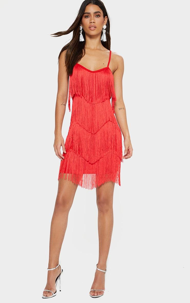 Red Tassel Layered Bodycon Dress 3