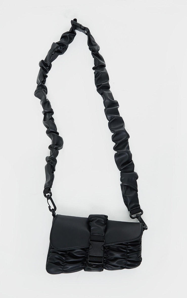 Black Ruched PU Cross Body Bag 2