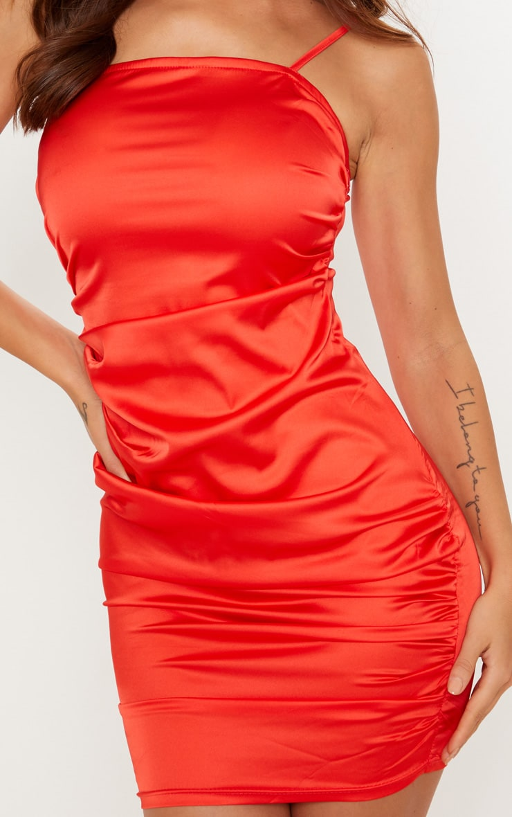 Red Ruched Strappy Satin Bodycon Dress 5