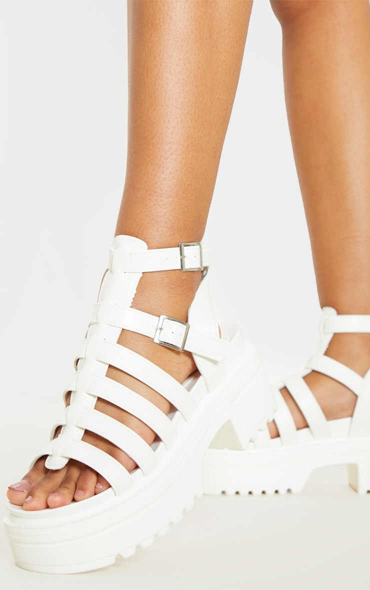 White Gladiator Chunky Sandal 2