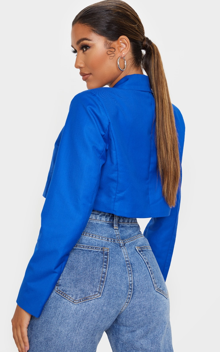 Cobalt Woven Cropped Blazer 2