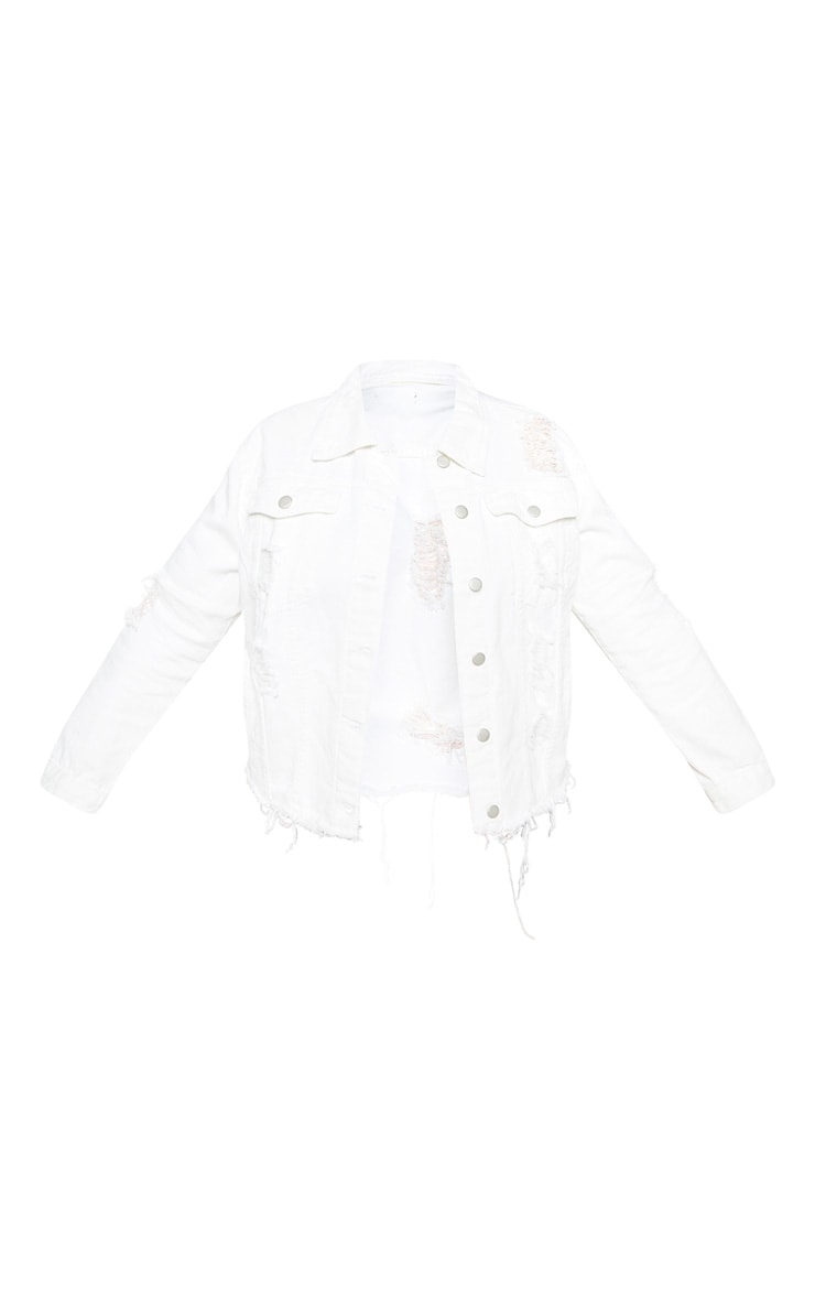 Plus White Distress Oversized Denim Jacket 4