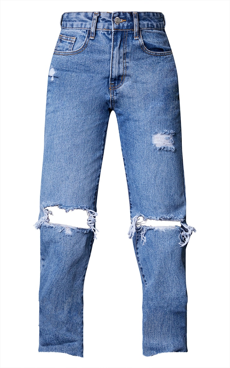 PRETTYLITTLETHING Petite Mid Blue Wash Ripped Long Leg Straight Jeans 5