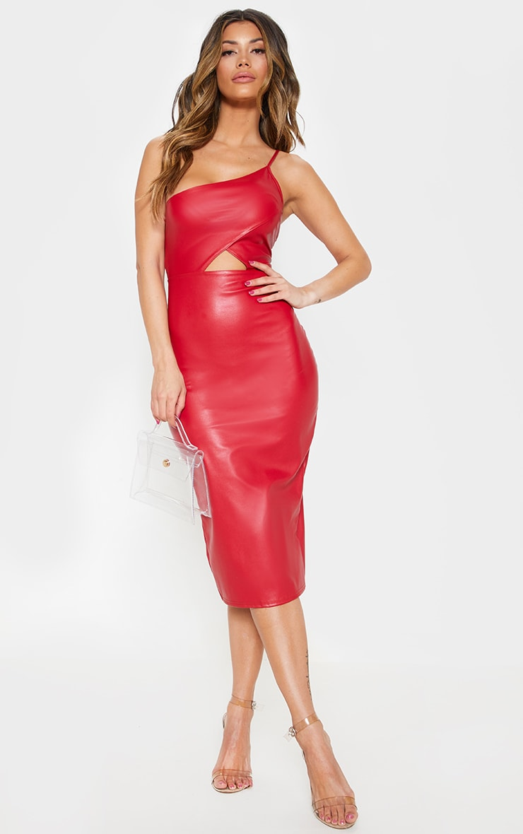 Red Faux Leather One Shoulder Cut Out Midi Dress 1