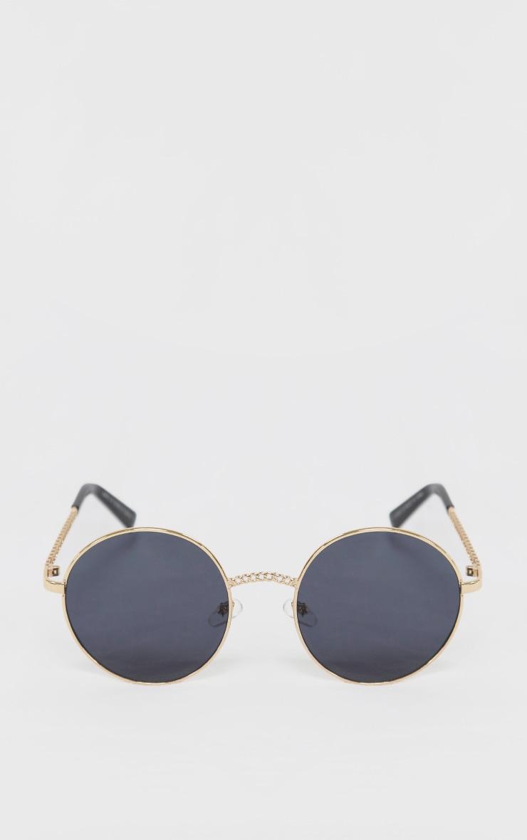 Gold Chain Trim Round Sunglasses 1