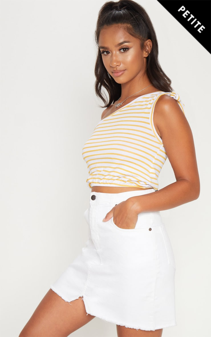 Petite Mustard Striped Tie Shoulder Crop Top