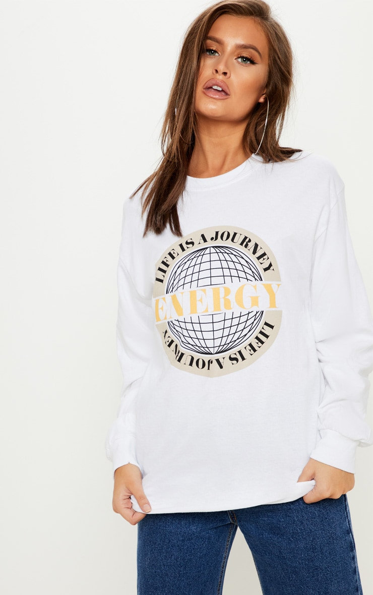 White Energy Long Sleeve Top