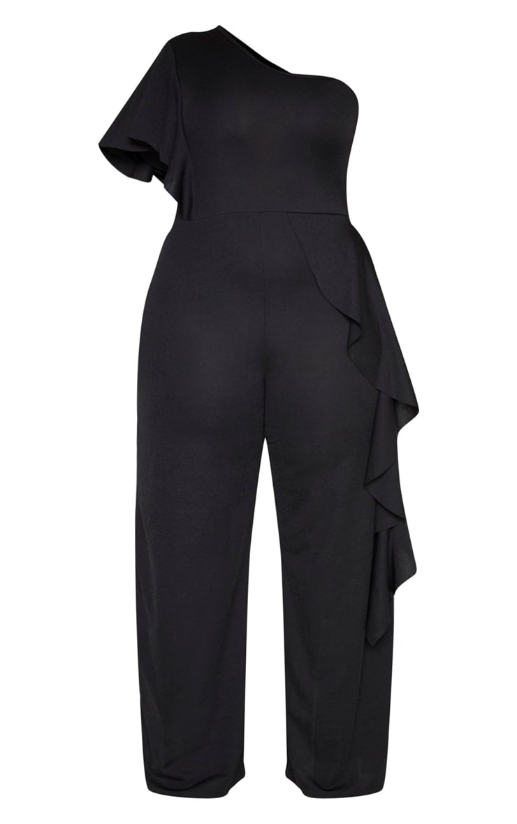 Plus Black One Shoulder Frill Detail Wide Leg Jumpsuit 3