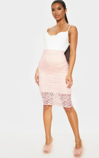 Blush Lace Panelled Midi Skirt