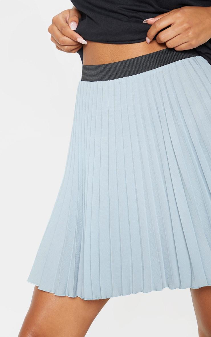 Dusty Blue  Pleated Mini Skirt 6