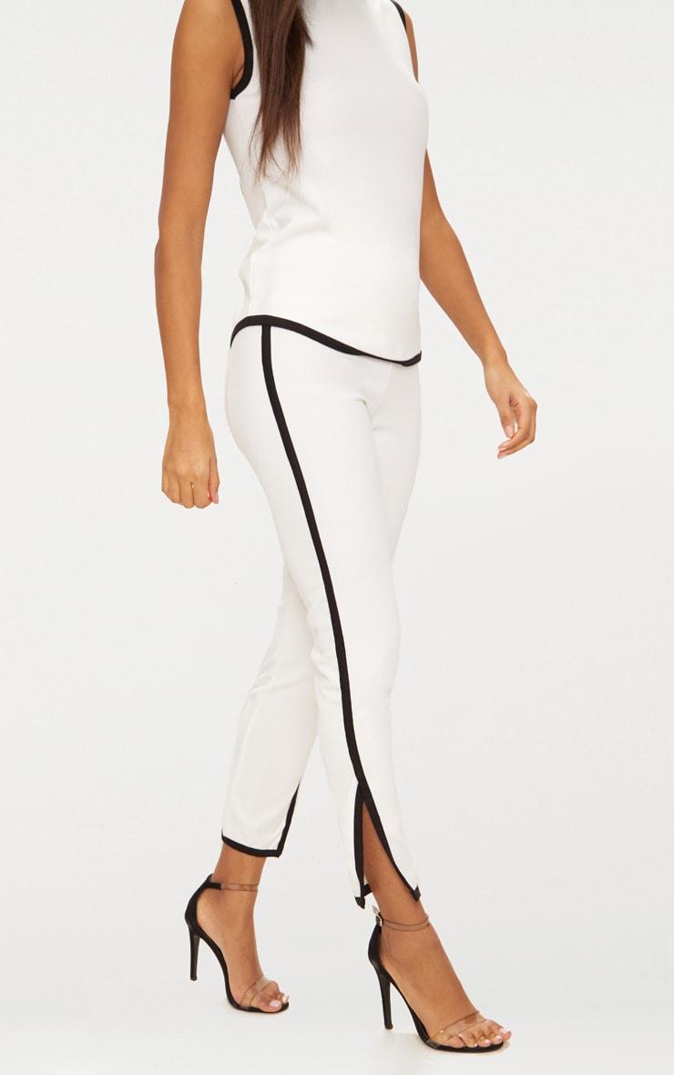 White Contrast Binding  Split Straight Leg Trousers  2