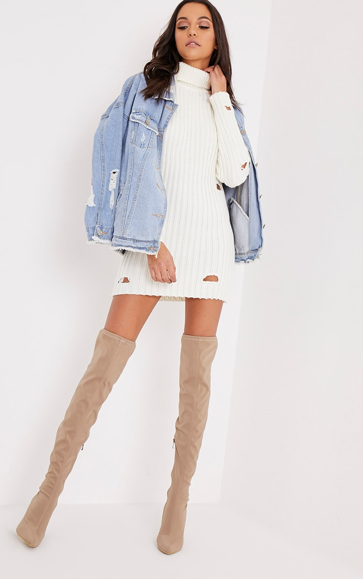 Roschan Cream Distressed High Neck Mini Dress 5