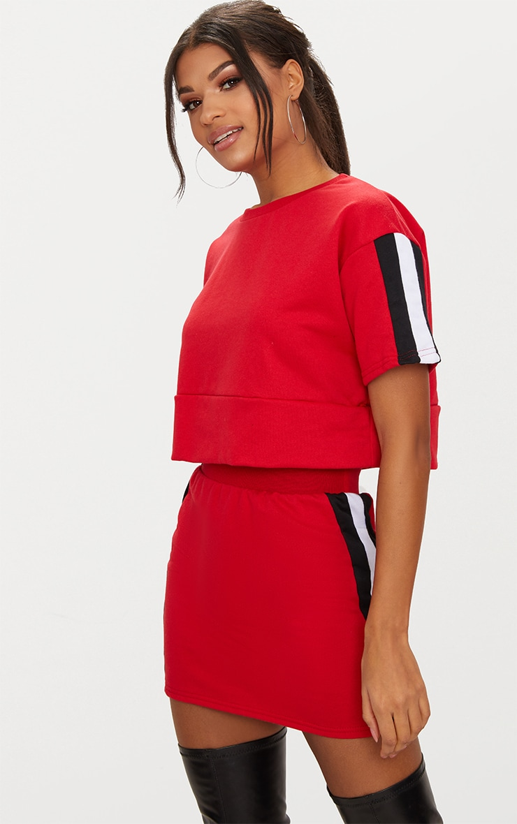 Red Contrast Panel Oversized Short Sleeve Sweater  1