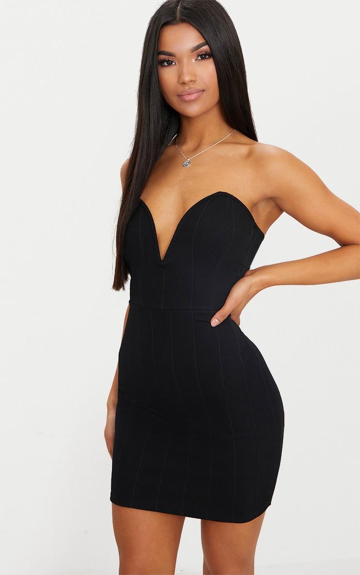 6e2fe4cf3c00 Black Bandage V Bar Bodycon Dress image 1