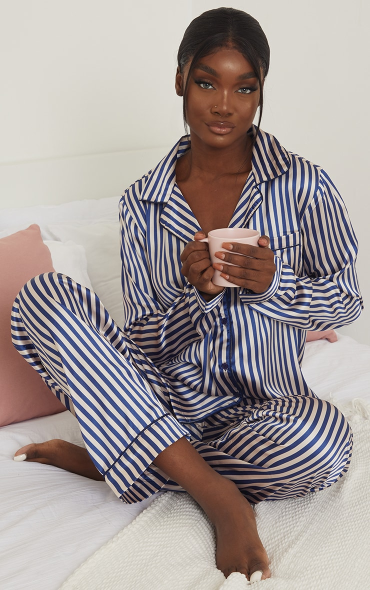 PRETTYLITTLETHING Tall Blue Striped Satin Pocket Long PJ Set 3