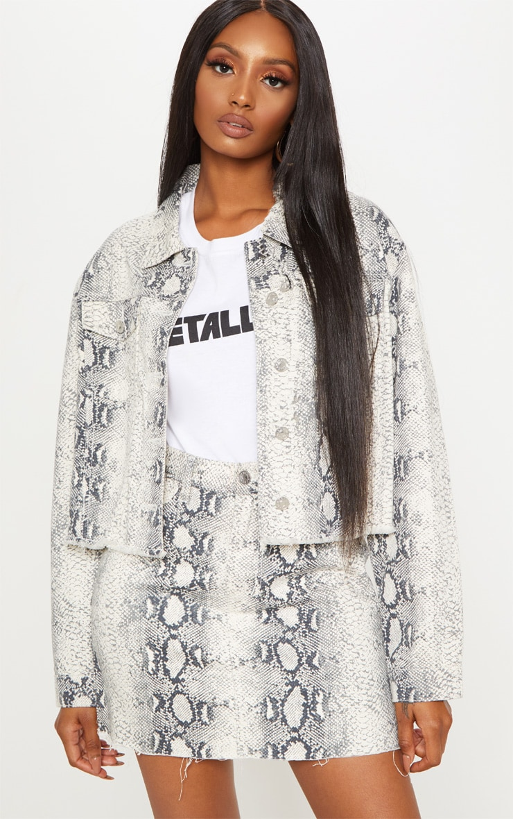 Grey Snake Print Denim Jacket