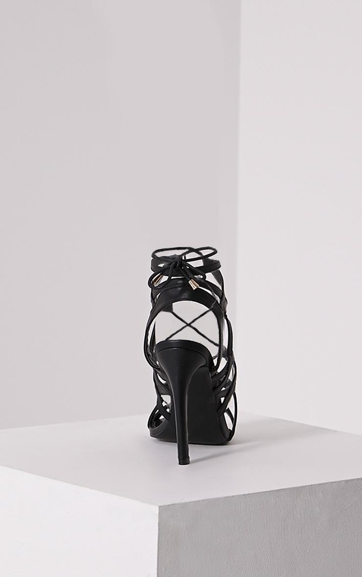Varah Black Lace Up Heeled Sandals 5