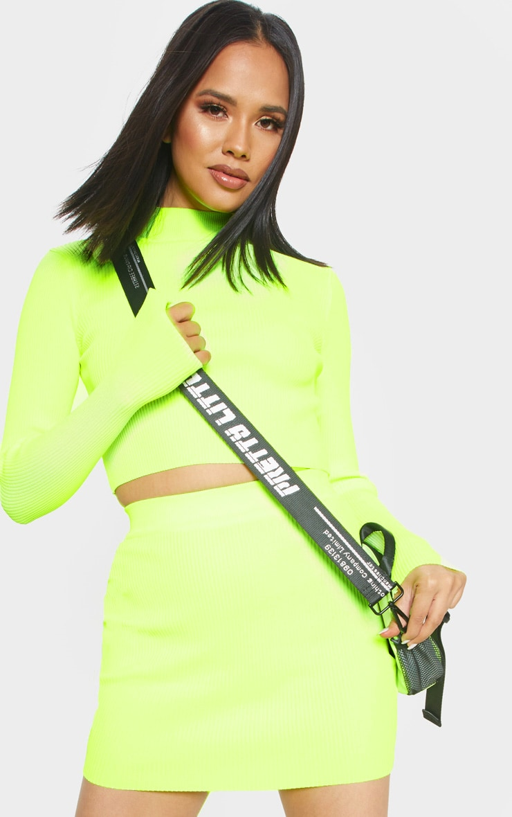 Neon Yellow Ribbed Knitted Top 1