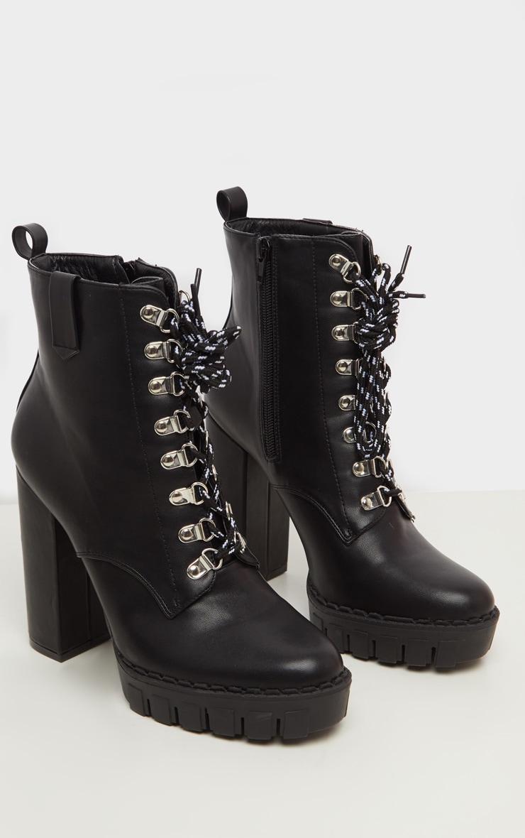 Black Hiker Lace Up High Platform Ankle Boot 3