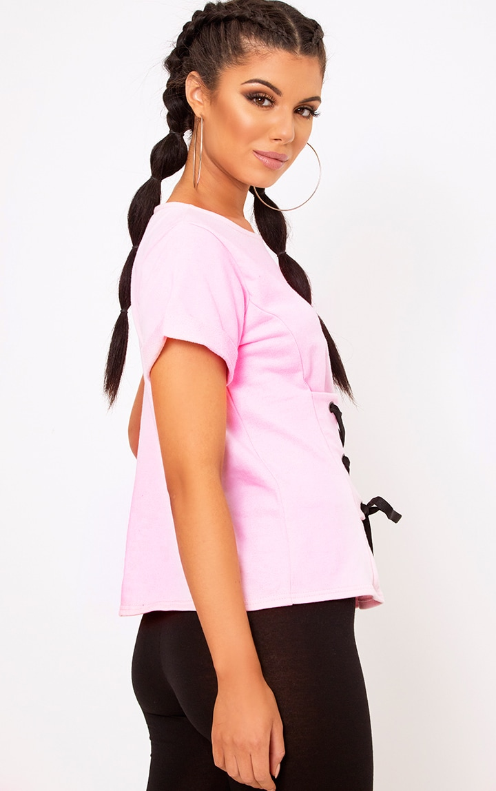 Baby Pink Corset Lace Up T Shirt Sweater 2