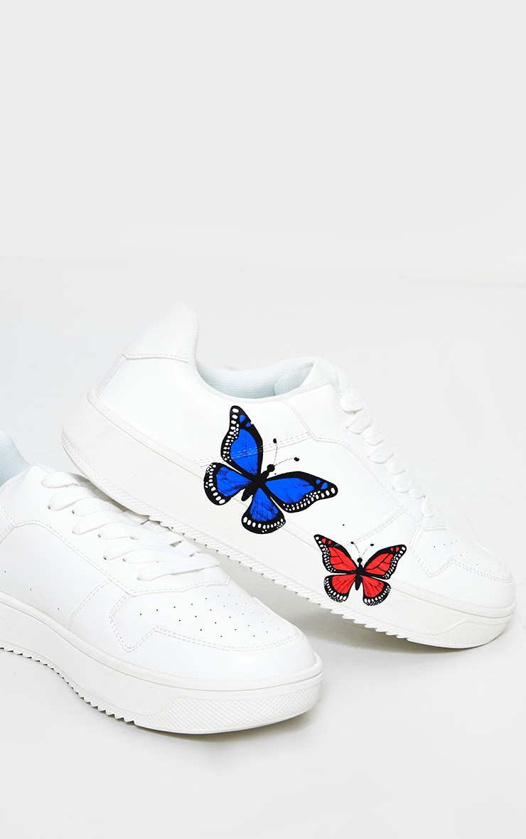 White Pu Butterfly Detail Sneakers 4