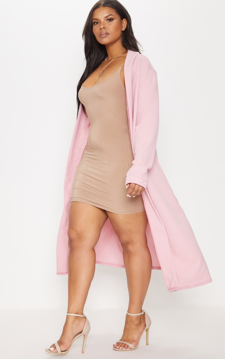 Plus Dusty Pink Crepe Maxi Duster Jacket 4