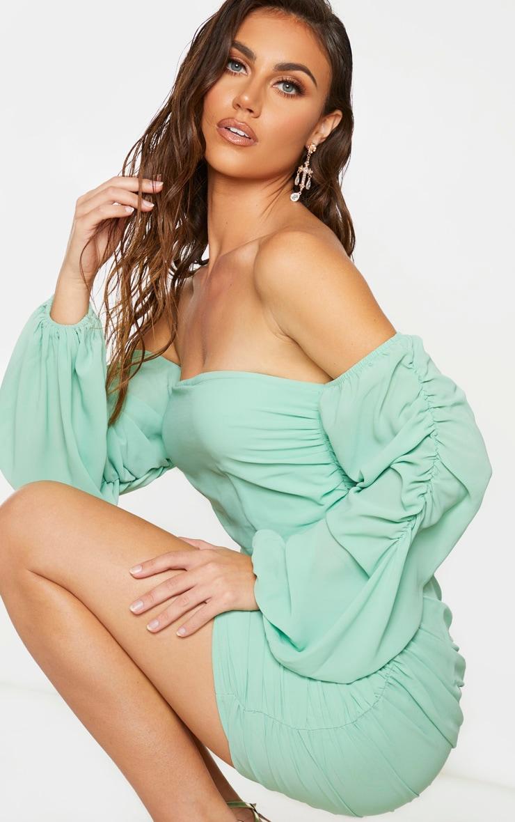 Sage Green Ruched Chiffon Bodycon Dress 4