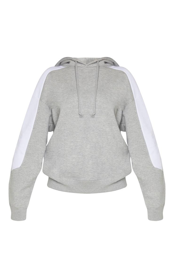Grey Contrast Side Stripe Hoodie 3