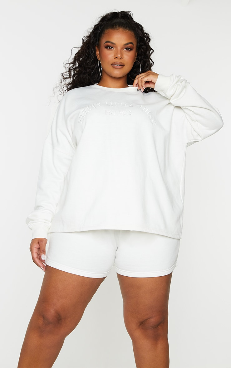 PRETTYLITTLETHING Plus Cream Embroidered Oversized Sweat Shorts 4