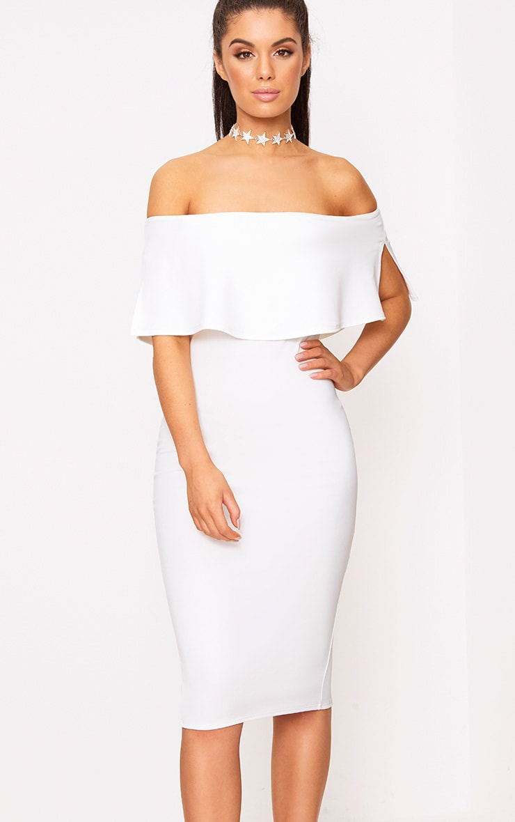 White Bardot Frill Midi Dress 4