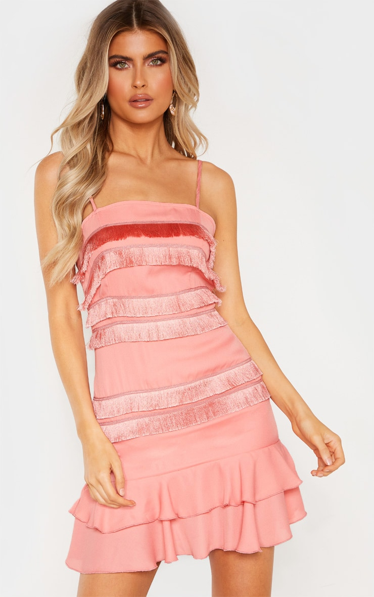 Tall  Dusty Pink Fringe Detail Flare Dress 1