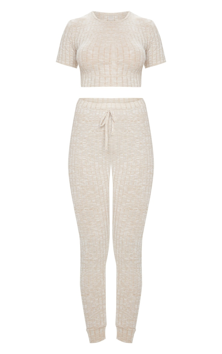 Oatmeal Knitted Tee And Jogger Set 5