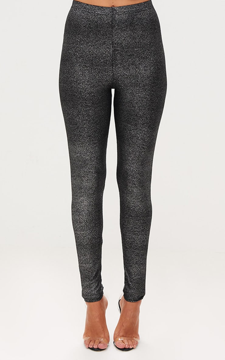 Black Foil Speckle Leggings 2