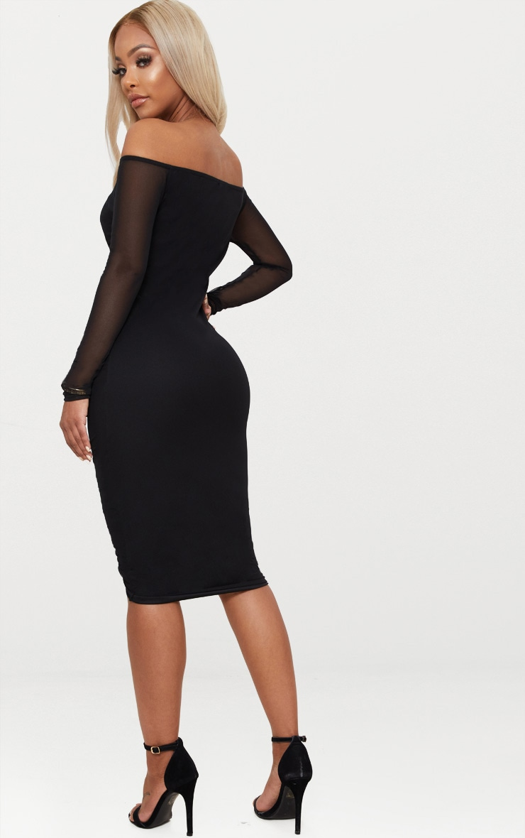 Shape Black Mesh Ruched Bardot Midi Dress 2
